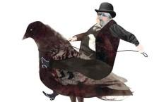 האם ארלן גאלבריית באמת חשב שהוא יכול להפוך את היונה לתחליף בשר־תרנגולת, או שמדובר בנוכל הגרוע בעולם מאת ג'ון מועלם ניו יורק טיימס מגזין | איור: שחף מנאפוב